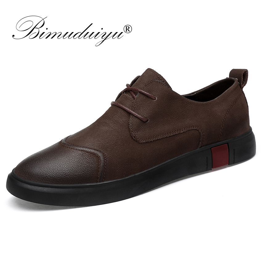BIMUDUIYU Flats Shoes High Quality Genuine Leather Men Casual Fashion Breathable Male Oxfords Sneakers