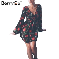 BerryGo Floral Print Backless V Neck Short Dress Sexy Lace Up Flare Sleeve Mini Dress Female