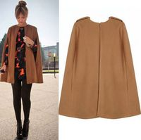 European and American Foreign Trade Women's autumn and winter blast fashion 2 color cloak coat woolen coat
