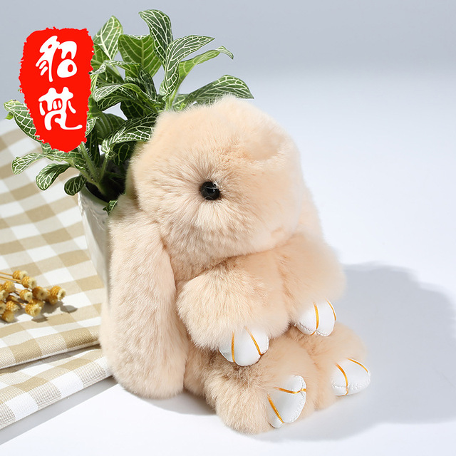 15Cm 100% Real Genuine Rex rabbit Furs Keychain Pendant Bag Car Charm Tag Cute Mini Rabbit Toy Doll Real Fur Monster Keychains