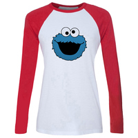 IDzn New Women S T Shirt Funny Sesame Street Blue Cookie Monster Pattern Raglan Long Sleeve