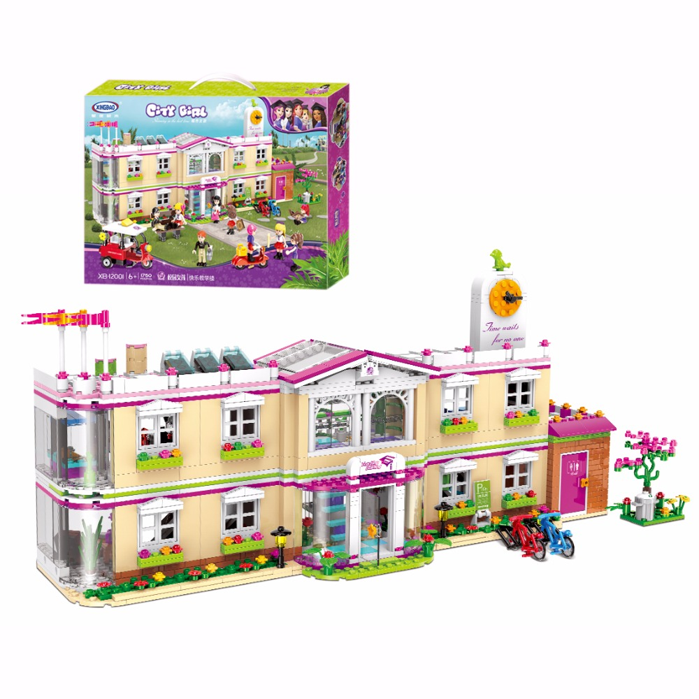 XINGBAO 12001 New 1750Pcs City Girl Series The Happy Teaching Building Set Building Blocks Bricks Funny Toys For Kids As Gifts