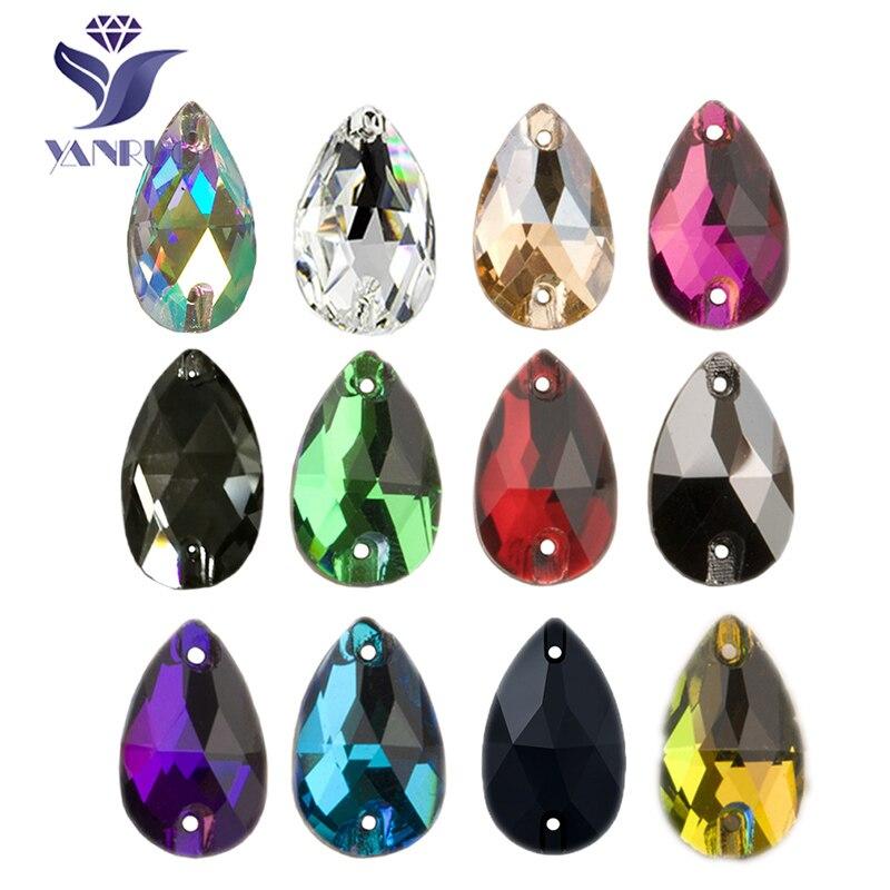 YANRUO 3230 goutte AAAAA qualité couture cristal Flatback strass coudre sur des pierres verre pour robes vêtements bijoux