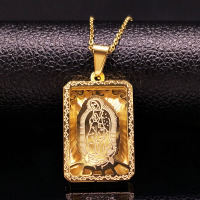 Stainless Steel Virgin Mary Necklace Jewelry For Men Women Gold Color Cross Hip Hop Necklaces Jewellery