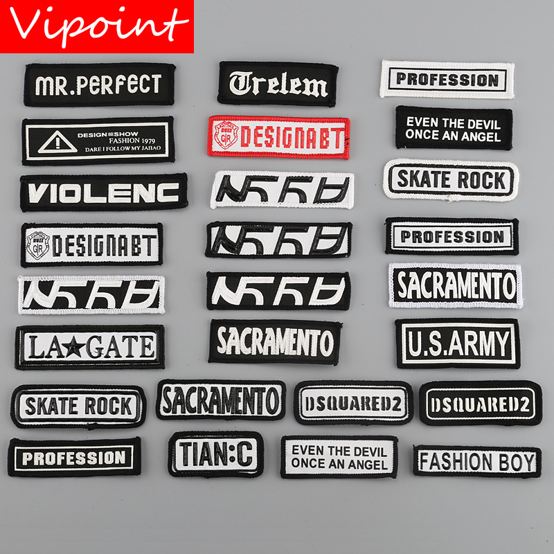 VIPOINT embroidery printed warning patches letter alphabet badges applique for clothing YM-34