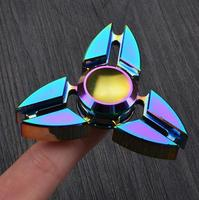Finger Hand Fidget Spinner Rainbow Crab Shape 2 Sides EDC Tri Spinner Metal Cool Aluminium Alloy