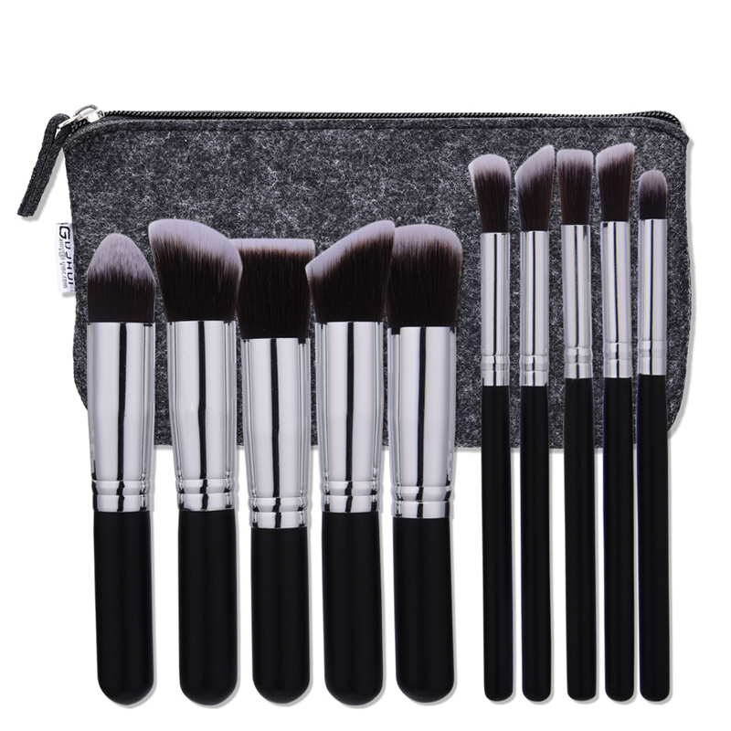 Make up brushes 10pcs professional brand makeup brushes high quality brush set with black bag beauty essential brushes