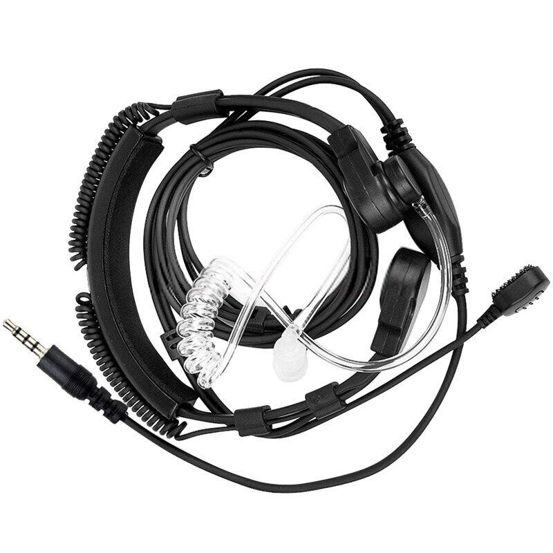 Neue 3,5mm Einstellbare Throat Mic Mikrofon Covert Akustische Rohr Ohrhörer Headset Mit Finger PTT für Mobile Clubs Online Chating