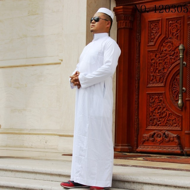 Free shipping men saudi arab thobe islam Apparel Abaya Mens Kaftan Islamic Robes Male Muslim Dress Muslim muslim service collar