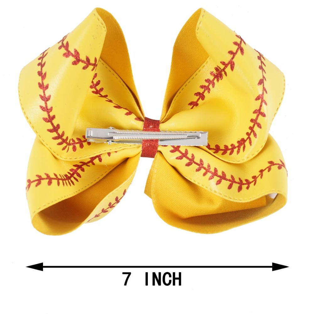 "Image 2 - 7"" Large Leather Baseball Hair Bow With Hair Clip For Kids Girls Handmade Big Glitter Softball Bow Hairgrips Hair Accessories-in Hair Accessories from Mother & Kids"