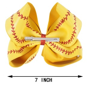 """Image 2 - 7"""" Large Leather Baseball Hair Bow With Hair Clip For Kids Girls Handmade Big Glitter Softball Bow Hairgrips Hair Accessories"""