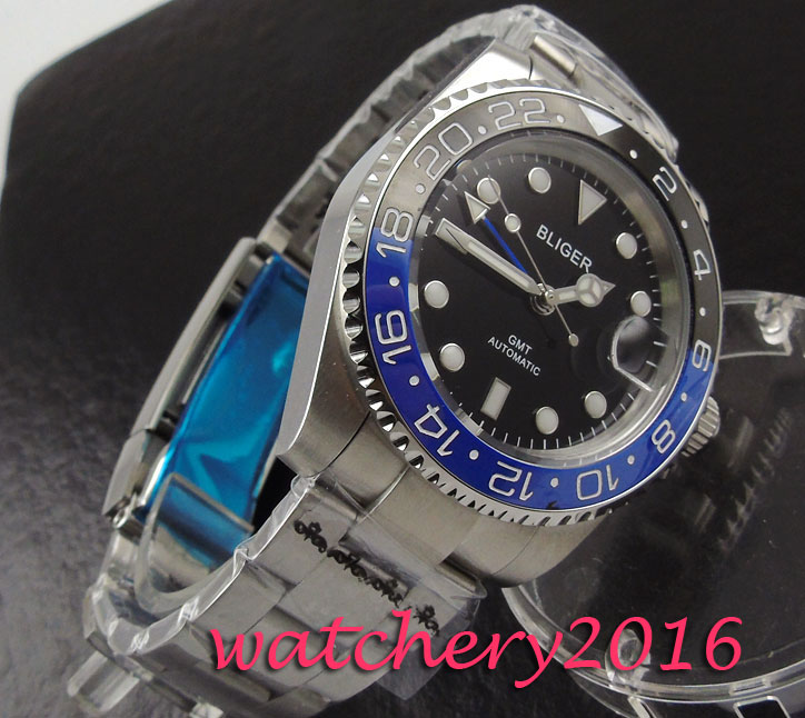 40mm Bliger black dial ceramic bezel Auto Date sapphire glass Stainless steel GMT automatic Self-Winding Movement Men's watch bliger 40mm gray dial date blue ceramics bezel stainless steel case saphire glass automatic movement men s watch