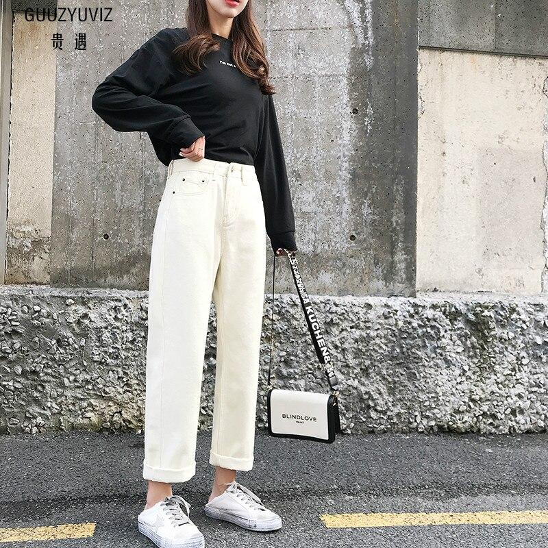 GUUZYUVIZ Casual Jeans Woman Plus Size Jeans Women Spring 2019 High Waist Kot  Pantolon Solid Wide