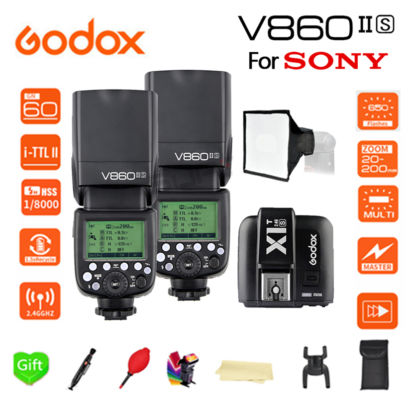 Paypal Accpect, 2*V860II-S Godox V860II Flash Speedlight TTL GN60 Li-Battery HSS 1/8000s Camera Flash + X1T-S trigger for Sony