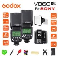 Paypal Accpect, 2*V860II S Godox V860II Flash Speedlight TTL GN60 Li Battery HSS 1/8000s Camera Flash + X1T S trigger for Sony