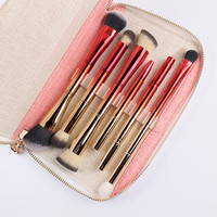 Portable 6pcs Double Brush Heads Makeup Brushes Professional Cosmetic Brush Kit With Bag Gold And Red