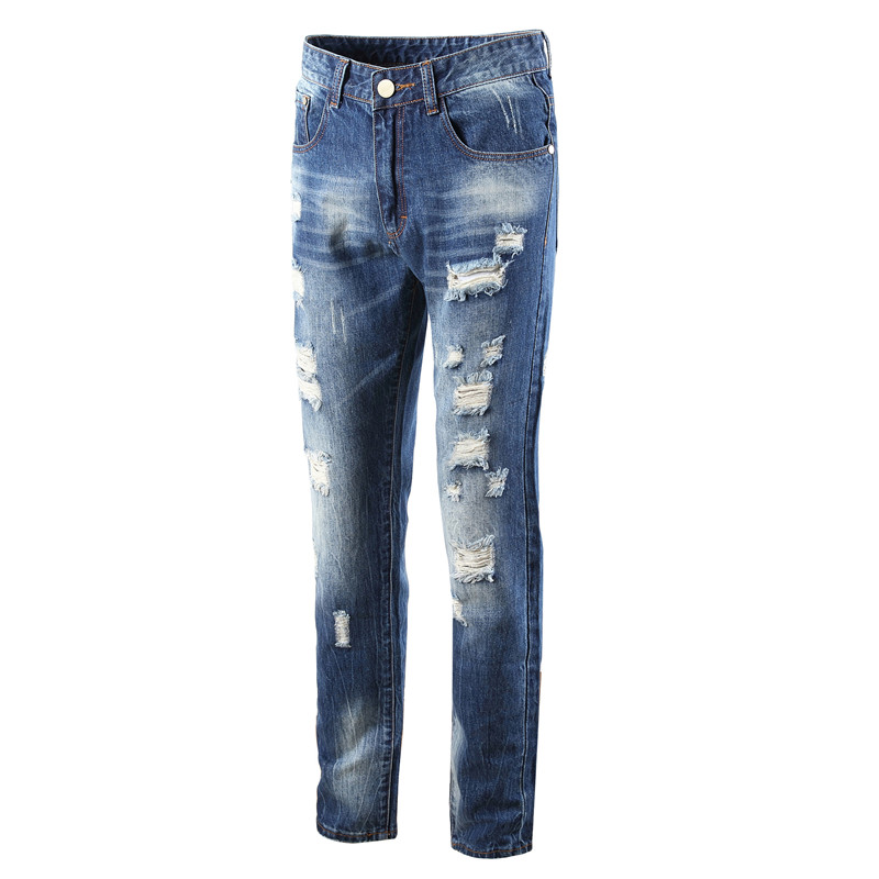 Brand Fashion Blue Jeans Men Straight Denim Jeans Trousers Plus Size 28-42 High Quality Cotton Logo Brand Mens Ripped Jeans 2017 fashion patch jeans men slim straight denim jeans ripped trousers new famous brand biker jeans logo mens zipper jeans 604