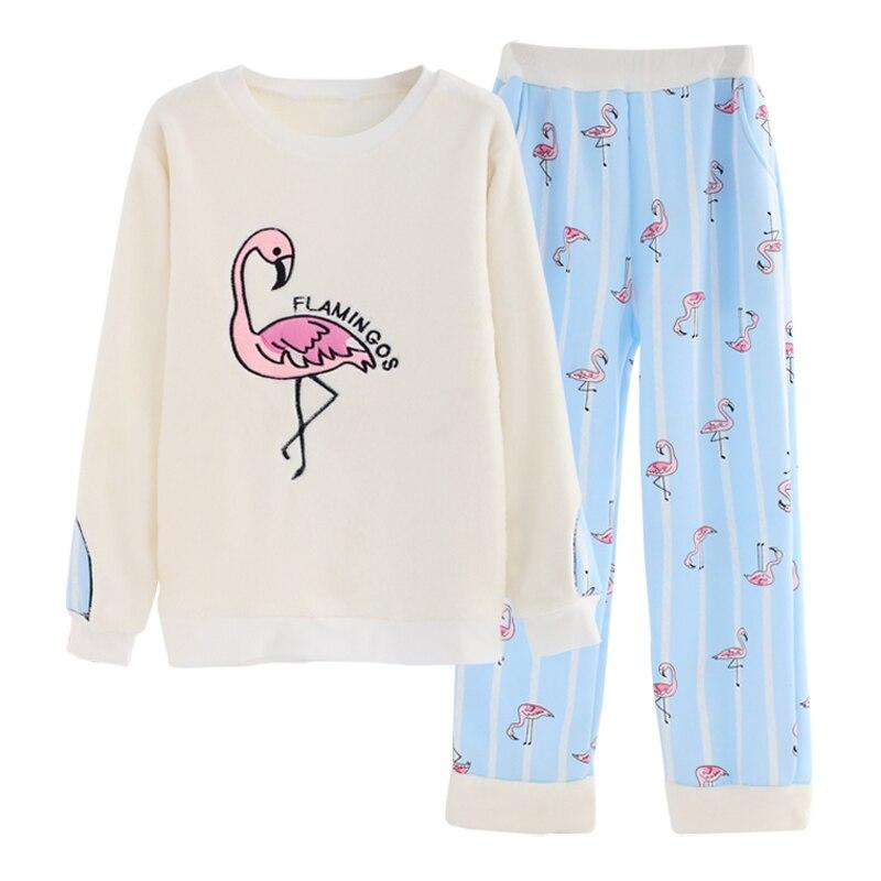 Pyjamas d'hiver ensemble femmes à manches longues col rond vêtements de nuit flanelle chaud épais beaux hauts + pantalons Pijama femme Pyjamas femmes