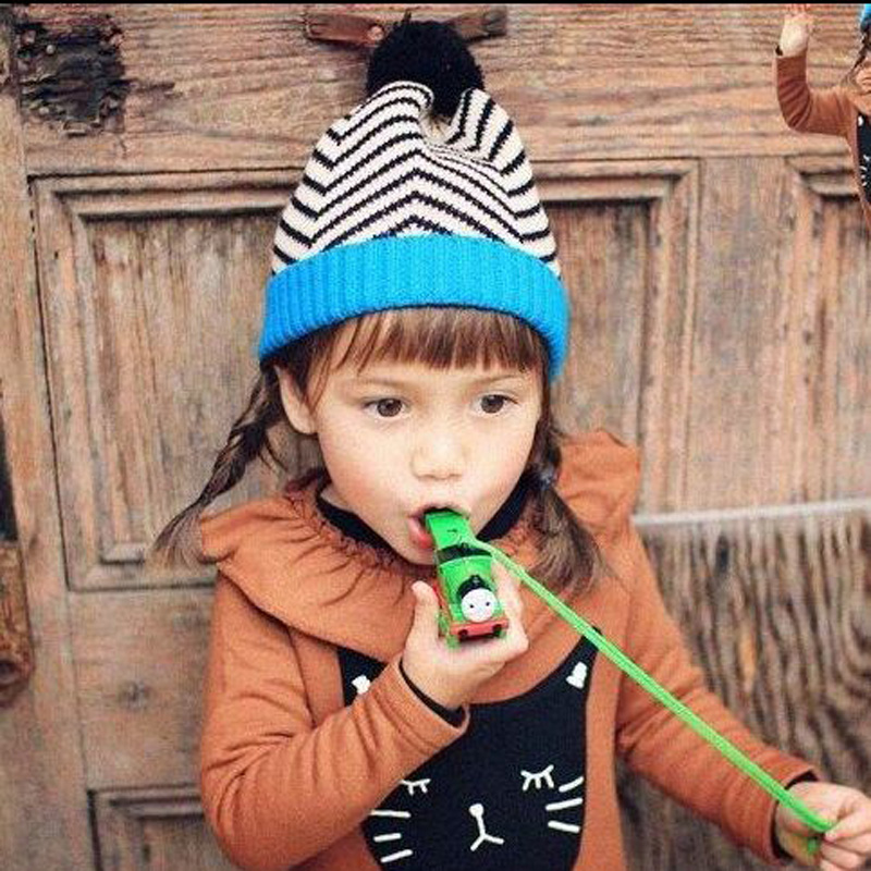 1 Pcs 2015 New Lovely Zebra Stripe Children Knitted Cap Autumn Winter Hats For Boy And Girl Skullies Beanies 2 Colors wholesale boy girl floral beauty skullies colored rhinestone flower style luxury winter hats for children 3 12 year kid beanies