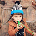 1 Pcs 2015 New Lovely Zebra Stripe Children Knitted Cap Autumn Winter Hats For Boy And Girl Skullies Beanies 2 Colors