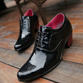 New 2017 Classic Business Shoes Top Patent Leather Pointed Oxfords Men Height Increasing Men'S Dress Shoes