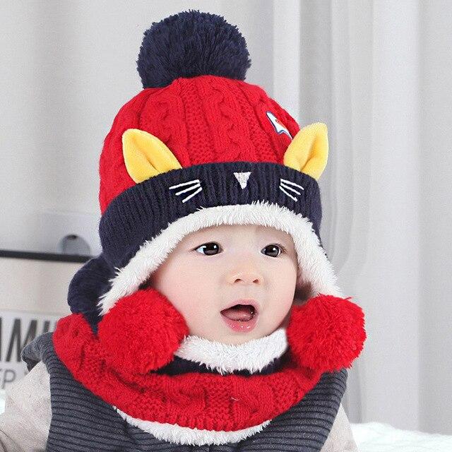 Gato de dibujos animados niño niña bebé tejer lana bufanda del sombrero  para el invierno 775e926a258