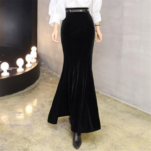 Image 2 - קטיפה בת ים חצאיות לנשים בתוספת גודל 5XL חורף ארוך חצאית עם חגורה נשי סתיו אלגנטי שחור קטיפה מקסי חצאית ds50163