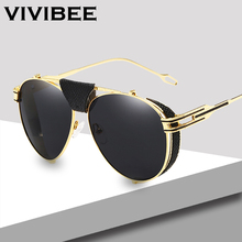 VIVIBEE Luxury Gold UV400 Men Aviation Sunglasses with Leath