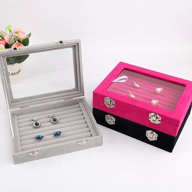 Wood Velvet Glass Jewelry Display Box Jewelry Tray Holder Casket
