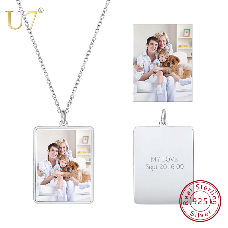 U7 100% 925 Sterling Silver Pendant & Chain Engraved Personalized Custom Photo Mother's / Father's Day Gifts Trendy Jewelry SC82 u7 100