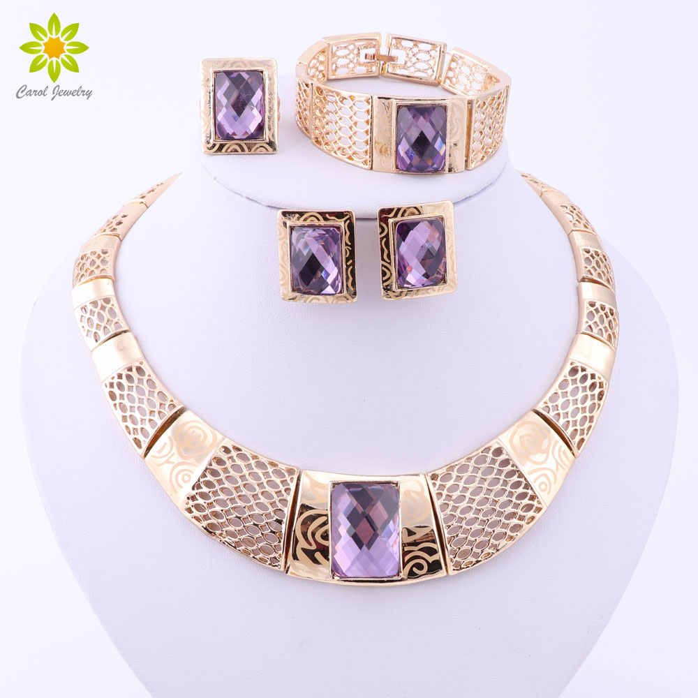 Fashion Nigerian Wedding Gold Color African Beads Jewelry Sets For Women Party Trendy Dubai Jewelry Set Wedding Accessories
