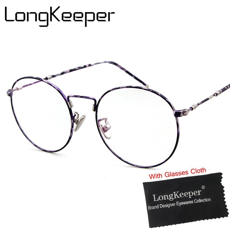 LongKeeper Round Mirror Sun Glasses for Women Men Retro Metal Frame Eyeglasses Korean Clear Lens Male Female Optical Glases