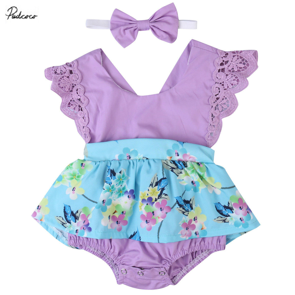 все цены на Cute Lace Floral Print Rompers Dress Purple blue Summer Baby Girls Ruffles Sleeve Romper Flower Jumpsuit Headband outfits