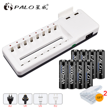 PALO new 8 slots intelligent battery charger for AA AAA rechargeable + 8pcs 3000mAh batteries