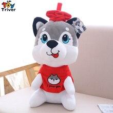 25/40cm Plush Husky Shiba Inu Dog with Red Hat Toy Stuffed Pet Puppy Doll Baby Kids Birthday Christmas Gift Shop Decor Triver стоимость
