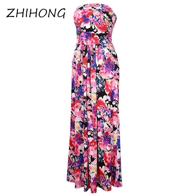ZHIHONG Women Strapless Maxi Vintage Floral Print Graceful Party Long Dress Hit Color Wrapped Chest Printed Dress Long