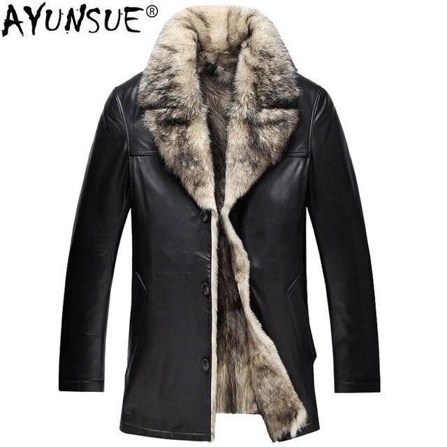 c5ecf2269dc5 € 420.23 49% de DESCUENTO|Chaqueta de cuero genuino AYUNSUE para hombre,  abrigo de piel de Lobo, abrigo de piel de oveja para hombre, chaquetas de  ...