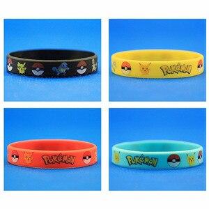 Image 4 - 40pieces Pokemon Go Silicone Bracelets Pikachu Pocket Monster Bangles Hologram Wristbands Party Favors Gift