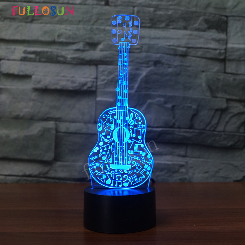 3D Lights Electric Guitar Night Lamp Illusion 3D Lamp 7 Color Changing LED USB Sensor Desk Table Lamp for Kids Toy Gift remote control led light creative monje smart air purifier wireless night lights sensor lamps gift table desk lamp