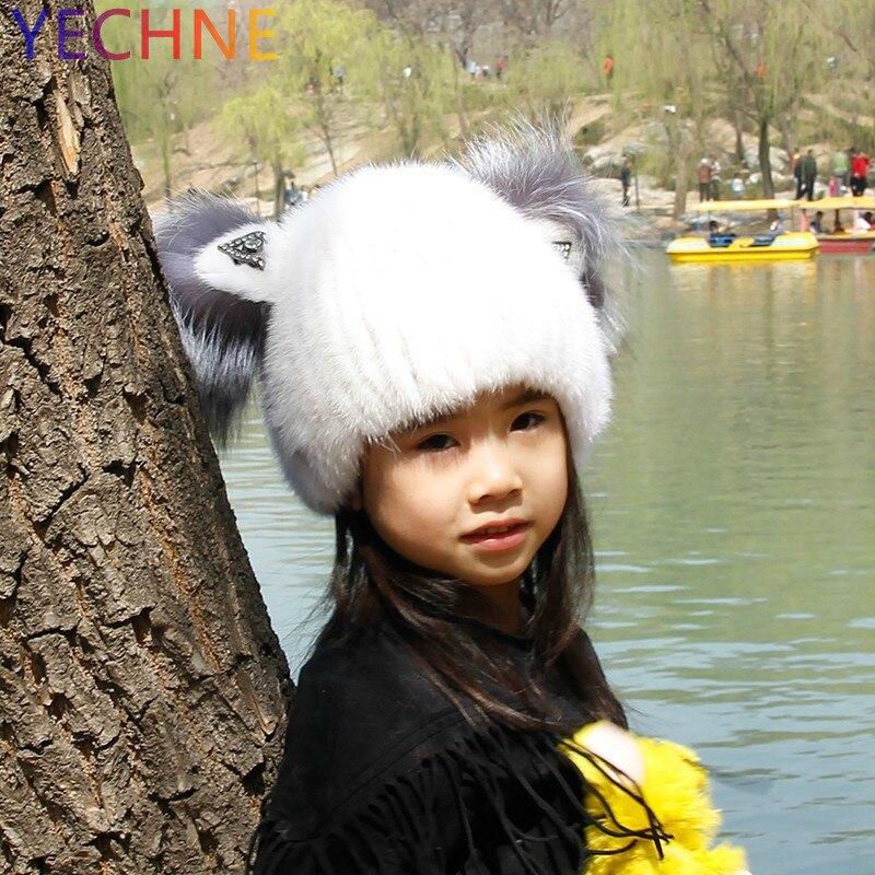 YECHNE Children Hats Winter Cartoon Genuine Mink Fur Beanies 2018 Russian Female Caps New Natural Fur Hats Beanie Children