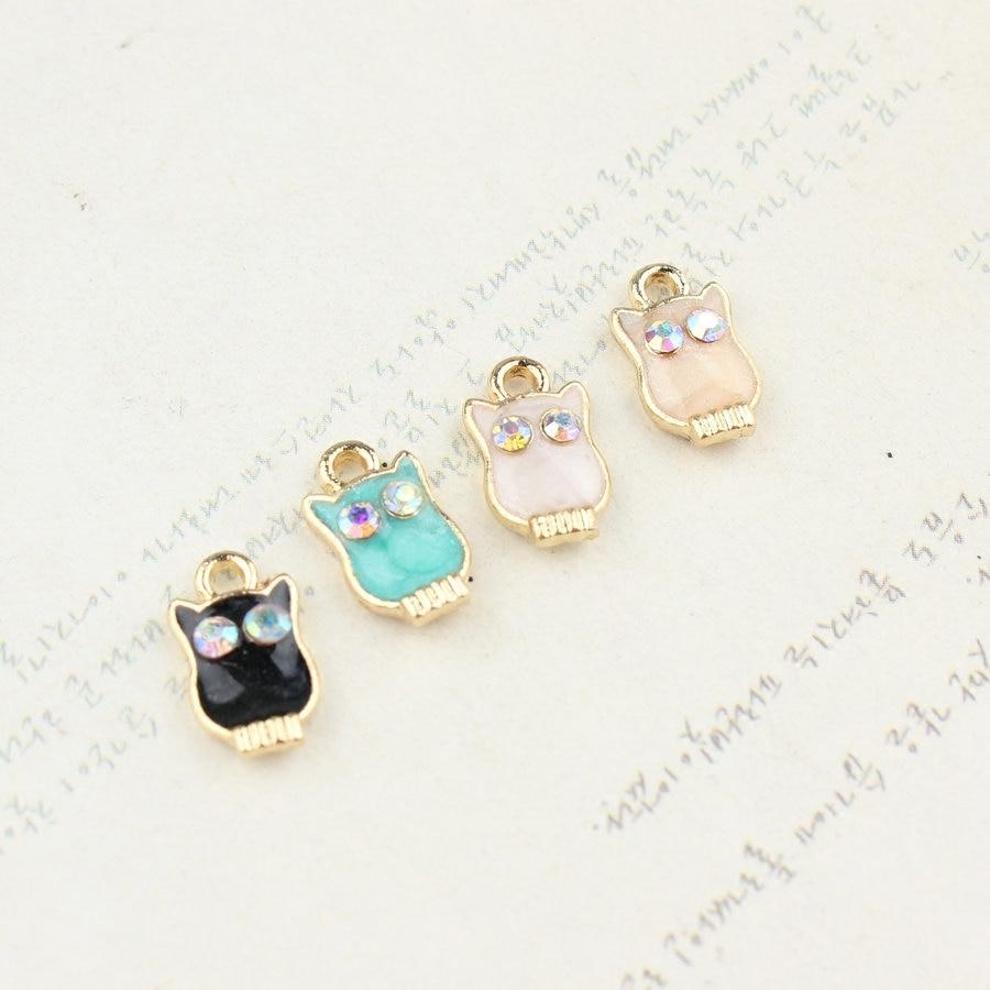 New Arrival 50PCS Enamel Animal Owl Rhinestone DIY Jewelry Charms Gold Tone  Oil Drop Jewelry Findings Bracelet Keyring Charm 9988d5de7043
