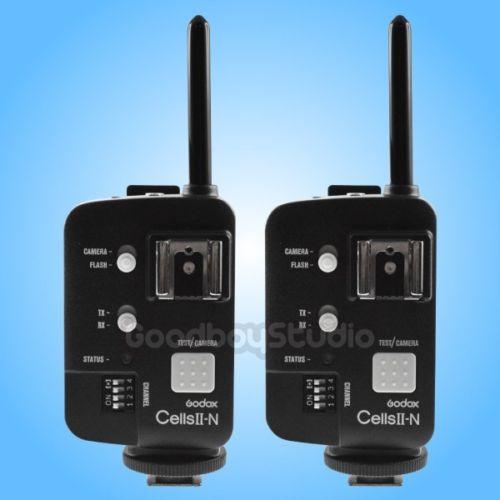 2PCS Godox Cells II for NIKON 1/8000 Wireless HSS Flash Speedlite Trigger Transceiver 2pcs godox cells ii 1 8000s wireless transceiver trigger kit for canon eos camera speedlite and studio flashes