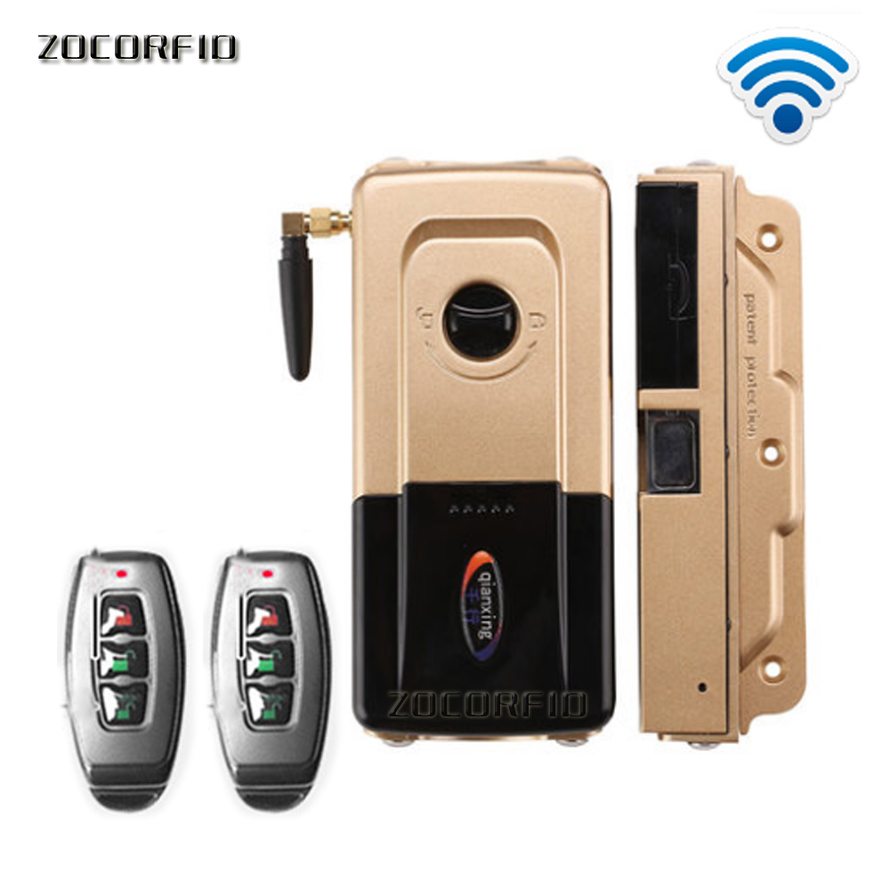 Double control Wireless Security Invisible Keyless Entry electronic Door Lock Home Smart Remote Control smart Lock with 2 Remote|Electric Lock| |  - title=