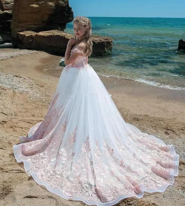 Красивые роскошные розовые длинные платья с цветочным узором для девочек кружевное платье с длинным шлейфом для пляжной свадьбы детское платье для причастия на заказ