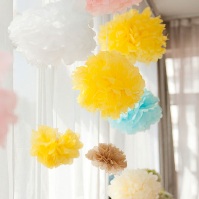 Us 17 2 25cm 10pcs Large Paper Flowers Kissing Ball Wedding Home Birthday Party Car Decoration Diy Multi Colour Tissue Paper In Artificial Dried