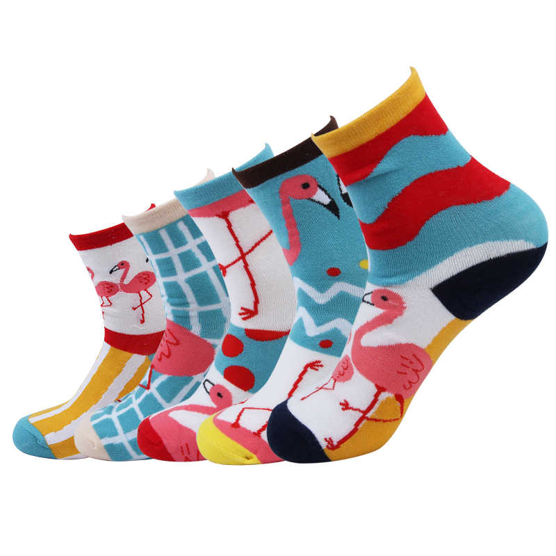 Happy Socks Women Funny Cute Flamingos Socks Art Crazy Fancy Woman Socks With Print For Fun Novelty 2018 Spring Summer 5 Pairs