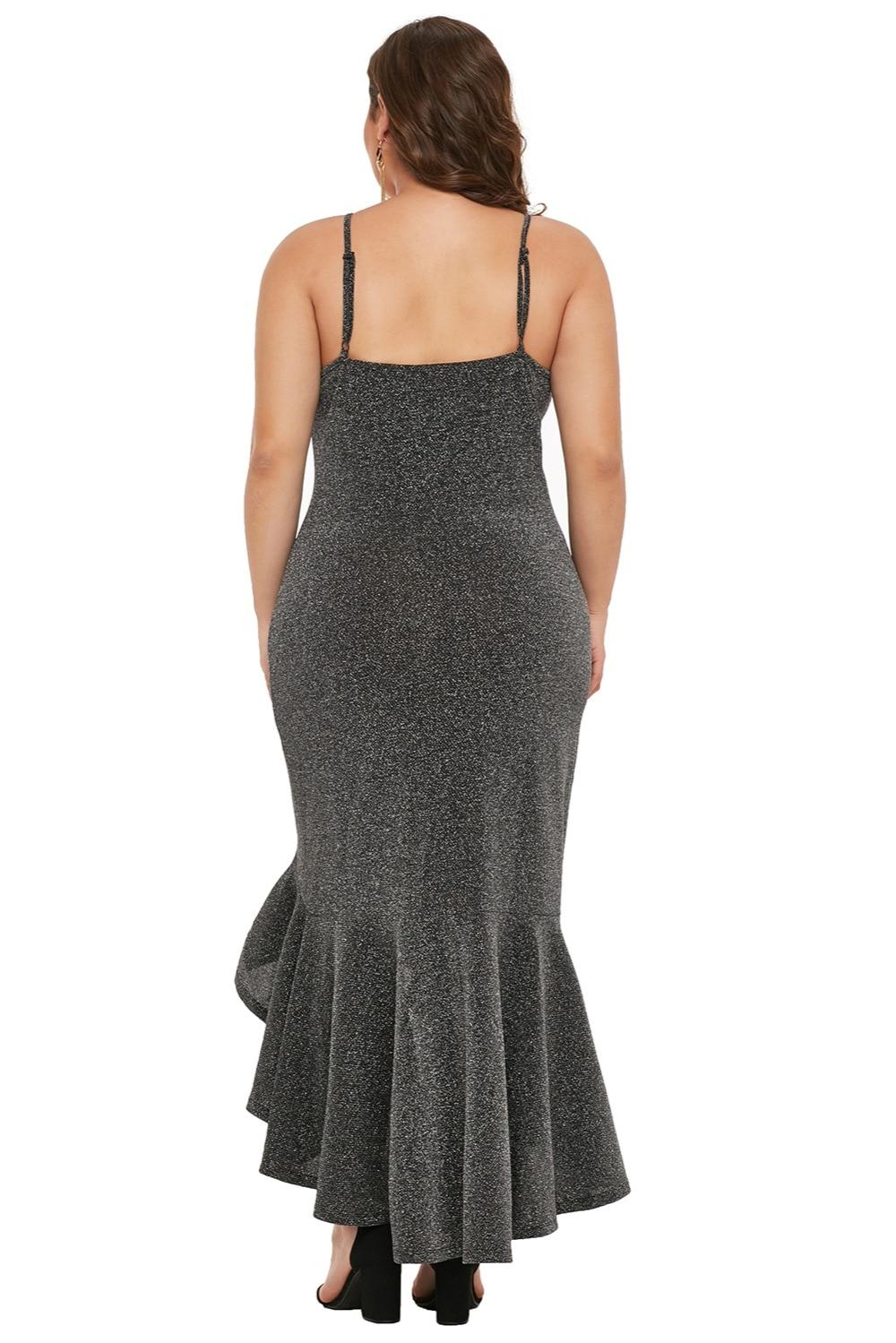 Charcoal-True-Shine-Plus-Size-High-low-Dress-LC610939-13-2