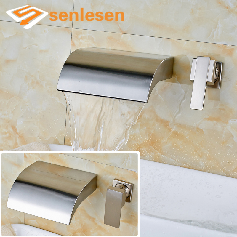 купить High-end Best Quality Nickel Brushed Wall Mounted Waterfall Basin Sink Mixer Faucet по цене 5399 рублей