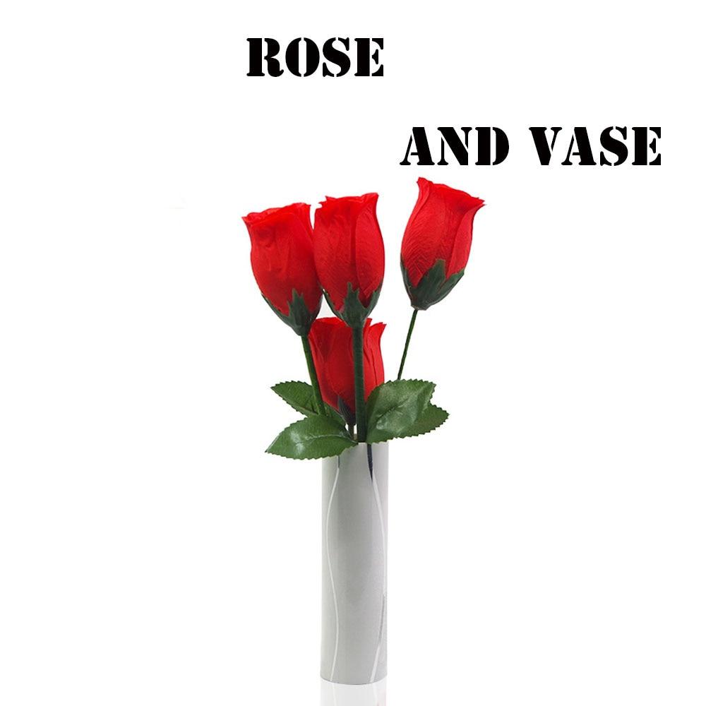 Rose et Vase tours de magie Rose écharpe apparaissant Magia magicien scène Illusions Gimmick accessoires Fun Split Roses romantique