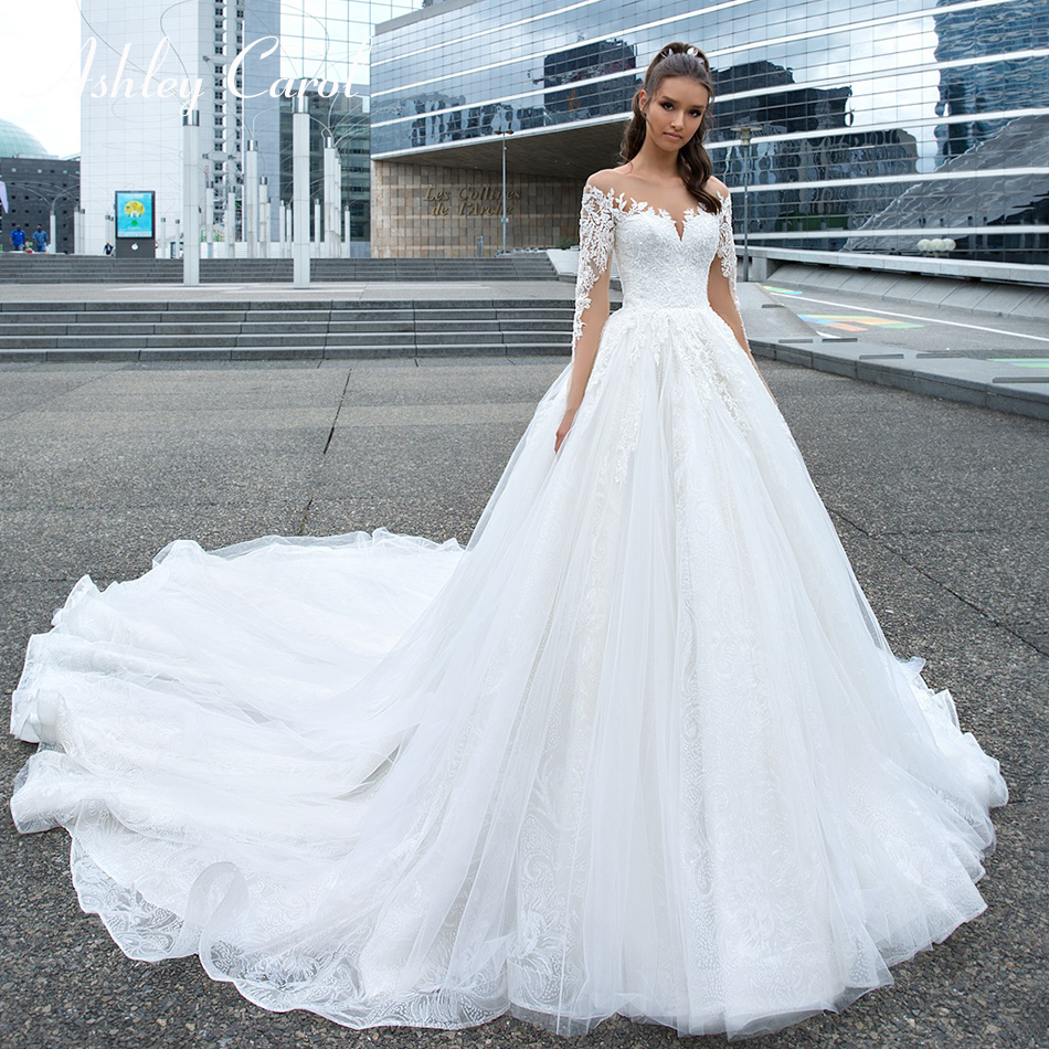 Ashley Carol Sexy Sweetheart Illusion Lace Princess Wedding Dress 2019 Long Sleeve Bride Dresses Cathedral Train